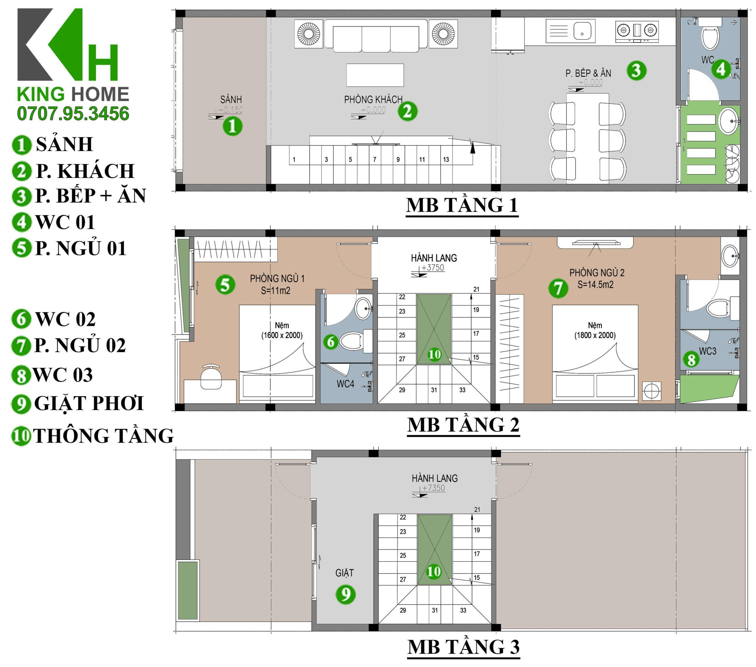 Nhà chị Uyên - Nhà phố 2 tầng 1 tum hiện đại